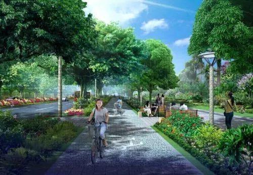 绿廊就是指绿化带内设有人行景观彩色道路,市民可以在景观路上图片