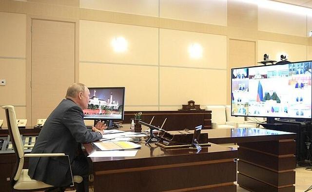 普京通过视频连线的方式举行政府会议