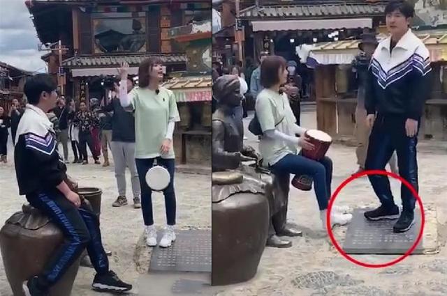 郭京飞王珞丹坐雕塑踩石碑 当场那么多人却无人提醒