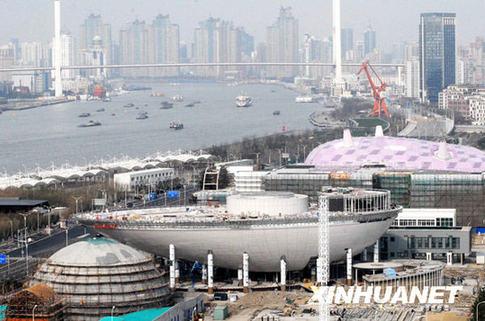 2月19日在上海世博浦东园区拍摄的世博会日本馆、沙特馆、印度馆等