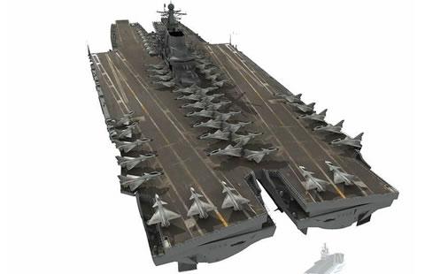 网友构想的未来中国双体船结构航母