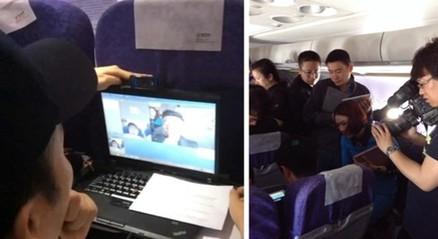 筷子兄弟受邀体验国航wifi航班 秒拍新媒体空中直播