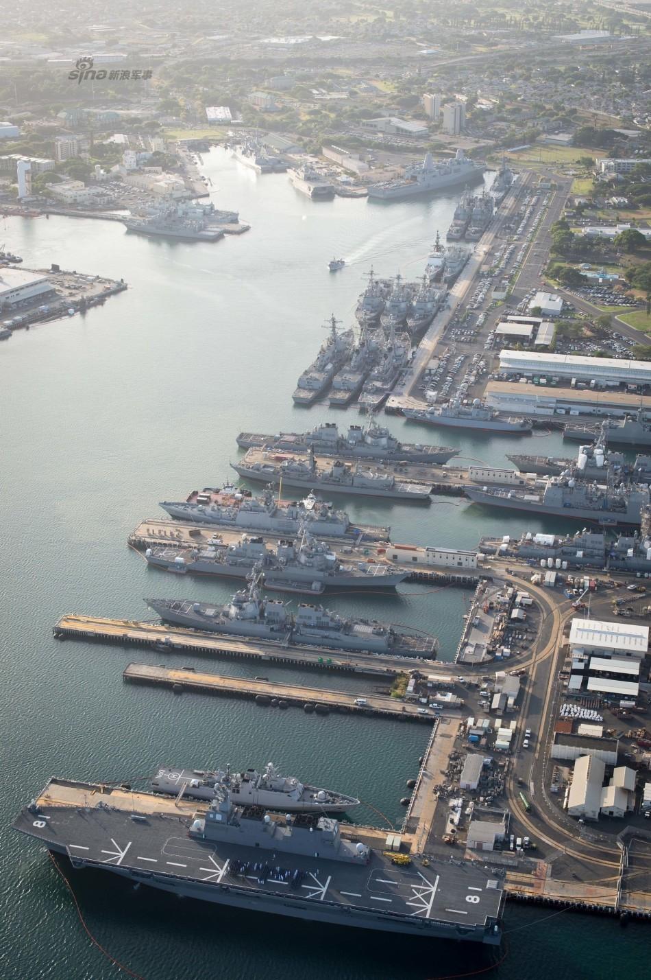 珍珠港鸟瞰高清图:中国舰队成排停靠霸气十足