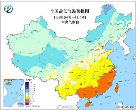全国最低气温预报图