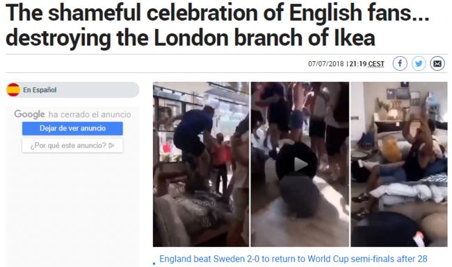 英球迷砸宜家庆祝
